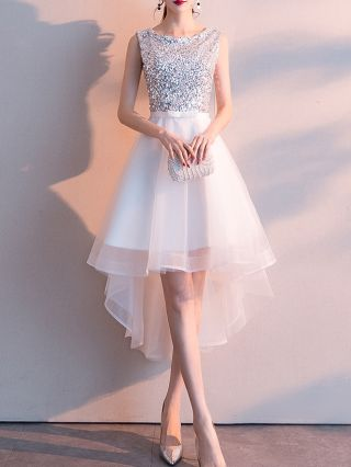 Homecoming Dress White Black Dress Sequins Sleeveless Round Neck Bowknot High-low Evening Prom Dresses