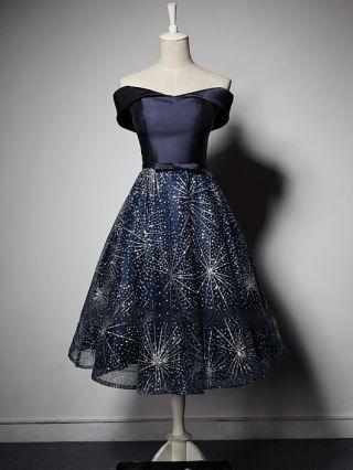 Homecoming Dress Navy Dress Off the Shoulder Bowknot Gauze Stitching Gilded Tutu Evening Dresses
