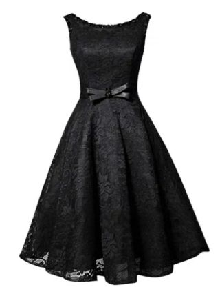 Black Dress Homecoming Dress Sleeveless Round Neck Lace Beading Bowknot Short Bridesmaid Evening Tutu Dresses