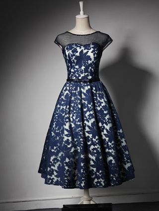 Homecoming Dress Blue Dress Vintage Sleeveless Round Neck Lace Gauze Bowknot Midi Bridesmaid Evening Dresses