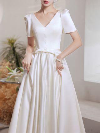 White Dress French Short Sleeve V-Neck Beading Bowknot Homecoming Dress Maxi Satin Bridesmaid Evening Dresses