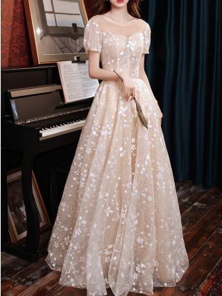 Champagne Dress Lace Gauze Short Sleeve Round Neck Homecoming Dress Maxi Swing Banquet Evening Prom Dresses