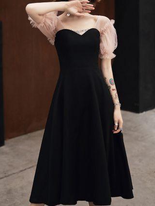 Black Dress French Puff Short Sleeve Gauze Stitching Homecoming Dress Party Evening Long Dresses