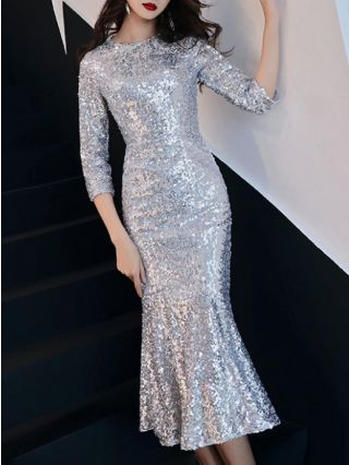 Silver Dress Cocktail Dress Sequins Three Quarters Sleeve Round Neck Mermaid Party Evening Dresses