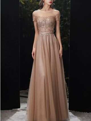 Champagne Gold Dress Short Sleeve Round Neck Sequins Gauze See-through Belted Maxi Bridesmaid Evening Prom Dresses