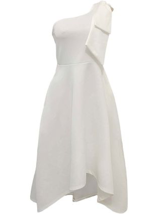 Homecoming Dress White Dress One Shoulder Bowknot Sleeveless Solid Color Irregular Midi Party Evening Dresses