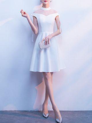 Wedding Guest Dress Black Dress White Dress Gauze See-through Homecoming Dress Round Neck Tie Short Sleeve Party Evening Dresses