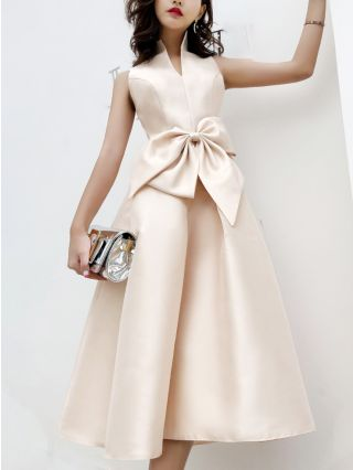 Champagne Dress Korean Sleeveless Stand Collar Big Bowknot Homecoming Dress Satin Bridesmaid Evening Dresses