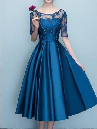 Homecoming Dress Royal Blue Dress Half-sleeve Round Neck Lace Satin Stitching Bowknot Midi Swing Bridesmaid Cocktail Evening Dresses