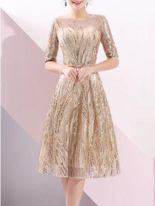 Wedding Guest Dress Gold Dress Half-sleeve Round Neck Sequins Gauze Homecoming Dress Short Banquet Evening Dresses
