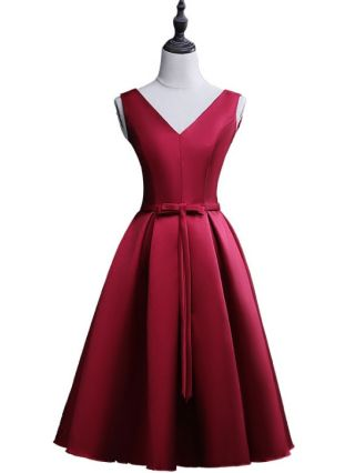 Homecoming Dress Red Dress V-Neck Sleeveless Bowknot Open Back Lace-up Short Bridesmaid Evening Dresses