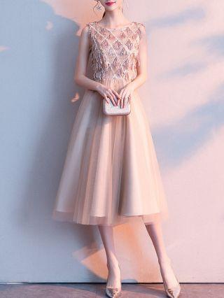 Homecoming Dress Champagne Gold Dress Sequins Sleeveless Round Neck Graduation Dress Midi Banquet Evening Dresses