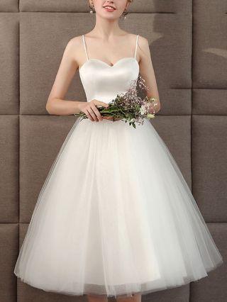 White Dress Slip Open Back Lace-up Gauze Stitching Graduation Homecoming Dress Short Bridesmaid Evening Dresses