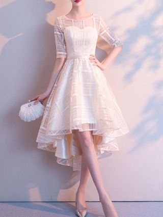Champagne Dress Plaid Gauze See-through Tube Top Homecoming Dress High-low Bridesmaid Banquet Evening Dresses
