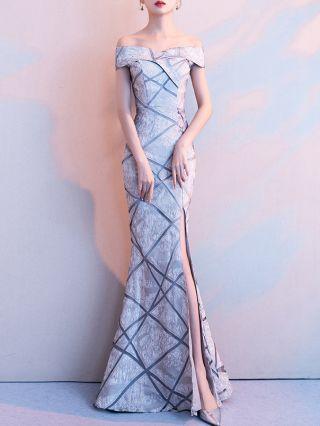 Wedding Guest Dress Grey Dress Elegant Off the Shoulder Printed Maxi Split Mermaid Party Evening Dresses