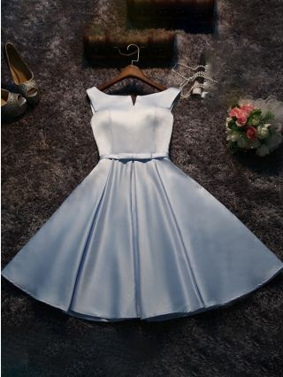 Homecoming Dress Sky Blue Dress Korean Graduation Dress Sleeveless Round Neck Bowknot Short Bridesmaid Evening Dresses