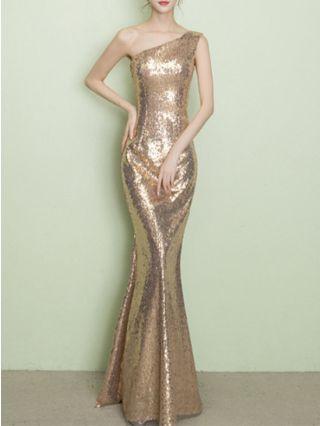 Wedding Guest Dress Gold Dress One Shoulder Sleeveless Bronzing Maxi Mermaid Evening Prom Dresses