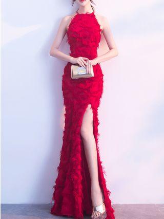 Wedding Guest Dress Red Dress Black Dress Halter Sleeveless Banquet Dress Maxi Split Mermaid Evening Dresses