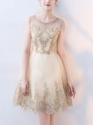 Homecoming Dress Gold Dress Sleeveless Round Neck Beading Gauze See-through Belted Short Bridesmaid Evening Dresses