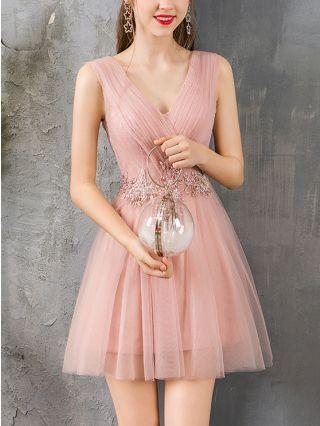 Homecoming Dress Pale Mauve Dress Sleeveless V-Neck Beading Sequins Gauze Short Bridesmaid Evening Dresses