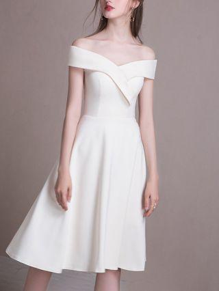 Wedding Guest Dress White Dress Off the Shoulder Irregular Solid Color Homecoming Dress Midi Bridesmaid Evening Dresses