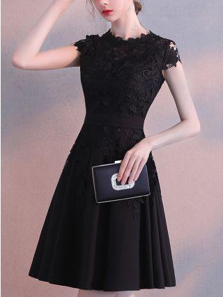 Homecoming Dress Black Dress Lace Short Sleeve Graduation Dress Elegant Short Bridesmaid Evening Dresses