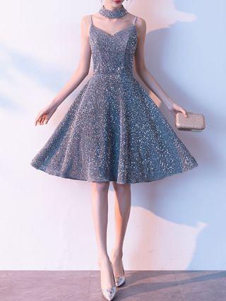 Wedding Guest Dress Silver Grey Dress Straps V-Neck Open Back Sequins Homecoming Dress Short Party Evening Dresses