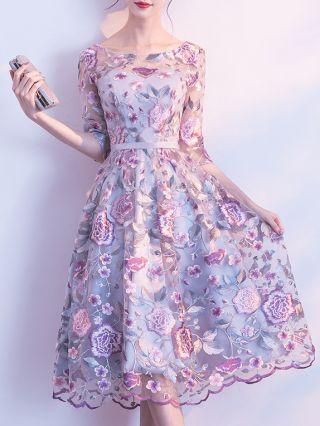 Homecoming Dress Purple Dress Flower Embroidery Half-sleeve Round Neck Midi Swing Bridesmaid Evening Dresses