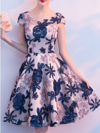 Homecoming Dress Navy Dress Flower Embroidery Short Sleeve Round Neck Midi Bridesmaid Party Evening Dresses