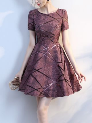 Homecoming Dress Purple Dress Short Sleeve Round Neck Gauze See-through Short Banquet Party Evening Dresses