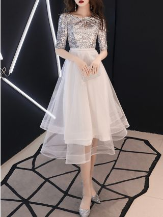 Wedding Guest Dress Sequins Half-sleeve Round Neck Gauze Stitching Homecoming Dress Midi Party Evening Dresses