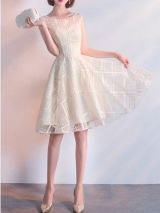 Homecoming Dress Champagne Dress Sleeveless Round Neck Tube Top Short Bridesmaid Evening Dresses
