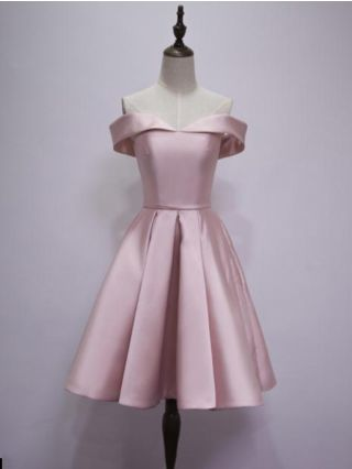 Homecoming Dress Pink Dress Burgundy Dress Off the Shoulder Open Back Lace-up Satin Short Bridesmaid Evening Dresses
