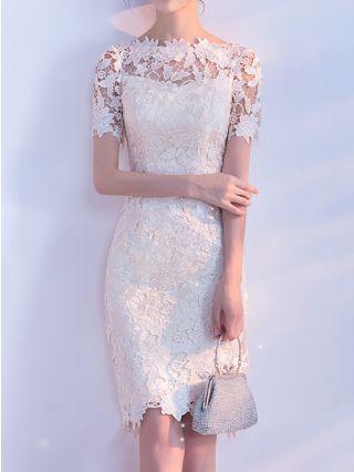 Lace Dress Champagne Dress Short Sleeve Round Neck Homecoming Dress Midi Bridesmaid Evening Dresses