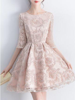 Homecoming Dress Khaki Dress Three Quarters Sleeve Round Neck Lace Short Banquet Party Evening Dresses