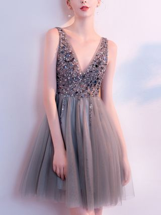 Homecoming Dress Grey Dress Sequins Rhinestone Sleeveless V-Neck Gauze Short Birthday Party Evening Dresses