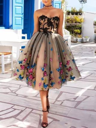 Cocktail Dress Strapless Tube Top Lace Gauze Homecoming Dress Open Back Colorful Butterflies Midi Evening Prom Dresses