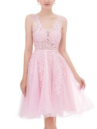 Homecoming Dress Pink Dress Sleeveless V-Neck Lace Applique Rhinestone Bridesmaid Banquet Evening Dresses