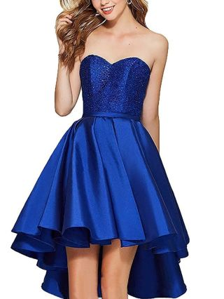 Homecoming Dress Royal Blue Dress Strapless Tube Top Lace Stitching High-low Bridesmaid Evening Dresses