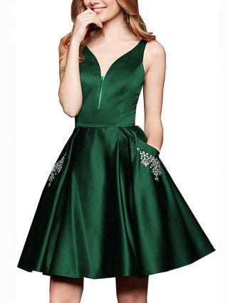 Homecoming Dress Dark Green Dress Sleeveless V-Neck Beading Pockets Satin Short Party Evening Prom Dresses