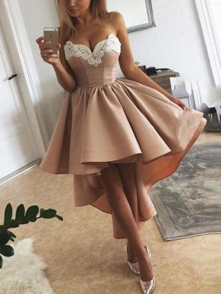 Cocktail Dress Khaki Dress Tube Top Lace Stitching Open Back Birthday Party Homecoming Dress High-low Irregular Tailing Party Evening Dresses