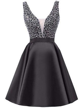Little Black Dress Rhinestone Sleeveless V-Neck Homecoming Dress Short Party Evening Dresses