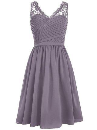 Homecoming Dress Grey Dress Lace Stitching Sleeveless V-Neck Irregular Short Bridesmaid Banquet Evening Dresses
