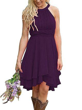 Homecoming Dress Purple Dress Halter Sleeveless Solid Color Summer Dress Multi-layered Irregular Short Evening Dresses