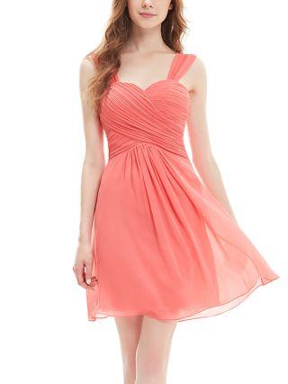 Homecoming Dress Orange Dress Chiffon Sleeveless Open Back Draped Short Bridesmaid Evening Dresses