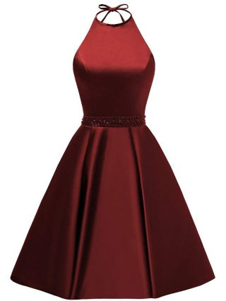 Homecoming Dress Burgundy Dress Halter Sleeveless Open Back Rhinestone Beading A-line Satin Banquet Evening Dresses