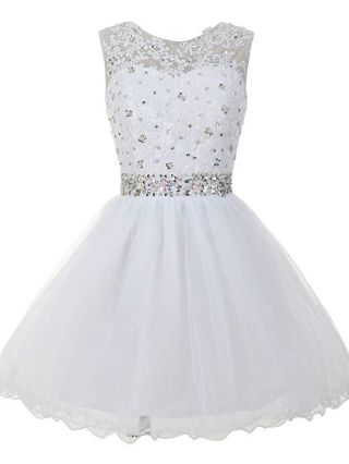 Homecoming Dress White Dress Sleeveless Round Neck Lace Rhinestone Open back Lace-up Short Cocktail Banquet Evening Dresses