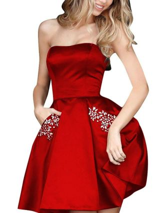 Tube Top Homecoming Dress Red Dress Beading Pockets Short Banquet Party Evening Dresses