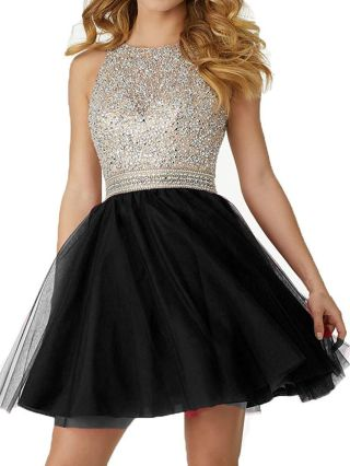 Homecoming Dress Black Dress Sleeveless Open Back Rhinestone Gauze Stitching Graduation Dress Short Party Evening Dresses