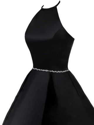Little Black Dress Halter Sleeveless Open Back Homecoming Dress Rhinestone Short Cocktail Evening Prom Dresses